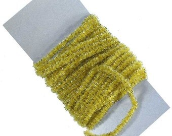 5 Yards Made In USA Maize Yellow Rayon Chenille And Gold Tinsel Cording