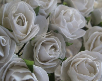 Paper Millinery Flowers 24 Winter Roses In White