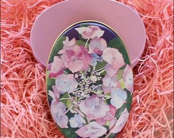 England Metal Easter Oval Egg Shaped Box For You To Embellish 3 3/4 Inch Nostalgic Craft Storage