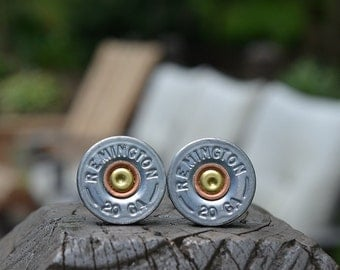 Shotgun Bullet Shell Cufflinks, silver Remington 20 gauge cufflinks crafted from repurposed shell casings