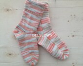Handknit Socks in Vintage Coral Sand 1 pair fits US adult size 7 to 9 Fabulous Funky Footwear