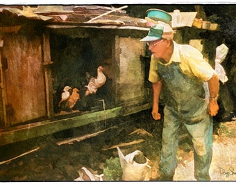 Checking the Coop  (Watercolor Print - 8x12 - Chickens - Chicken Coop - Rural Georgia - Country - Fine Art Print - Wall Art)
