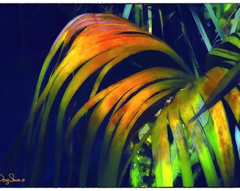 Midnight in the Garden (Watercolor Print - Palm - Botanical - Nature - Golds - Green - Indigo - Wall Decor)