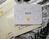 Romantic Love Birds Wedding Invitation (Oriole Yellow, Sepia with Ivory Envelopes, Gold/Silver Baker's Twine) - Heath Collection Deposit