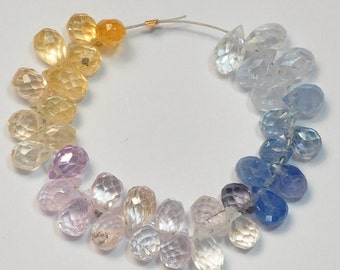 Multi Sapphire Faceted Petite Teardrops Briolettes Bead (35)