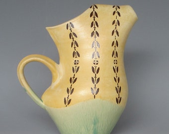 Pitcher Ceramic Handmade Silk Screened Green Gold Sepia
