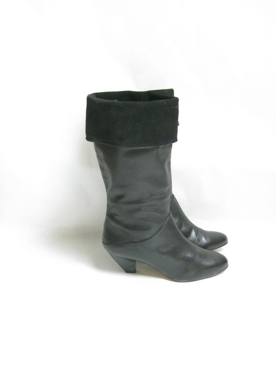 vintage 80s black leather cuff boots size 6 1 2