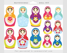 Matrioshka doll clipart - Russian nesting doll clip art, girl, sweet, whimsical, cute, Matrioshka matriochka for personal and commercial use