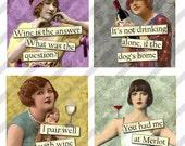 Digital Collage Sheet 1.5 X1.5 inch Slides Wine Ladies (Sheet no. FS205) Instant Download