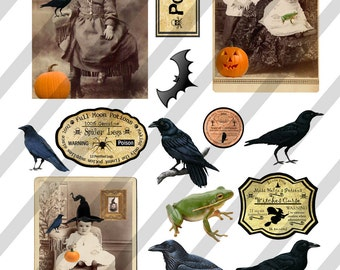 Digital Collage Sheet Vintage Halloween Images (Sheet No.O211) Instant Download
