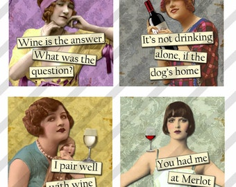 Digital Collage Sheet 1.5 X1.5 inch and 1 inch, Wine Ladies (Sheet no. FS205) Instant Download