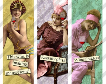 Digital Collage Sheet 1 X 3 inch sized Slides Sarcastic  Wine Ladies (Sheet no. FS207) Instant Download