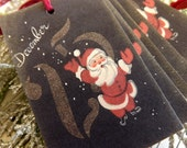 Vintage Christmas Santa Gift Tags // Black Gold and Red // Set of 6