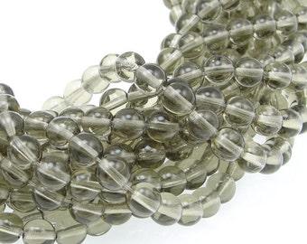 50 BLACK DIAMOND 6mm Beads Czech Glass Beads - Grey Beads Gray Beads - 6mm Round Pressed Glass Druks