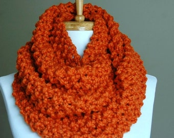 Pumpkin Orange Knit Infinity Scarf, Chunky Scarf, Circle Scarf, Hand Knit Infinity Scarf, Women Scarves, Knitted Neckwarmer, Wool Scarf