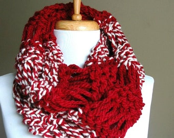 Red Knit Infinity Scarf, Crimson and White Knit Scarf, Chunky Scarf, Hand Knitted Circle Scarf, Womens Scarf, Crimson Tide, Alabama Scarf