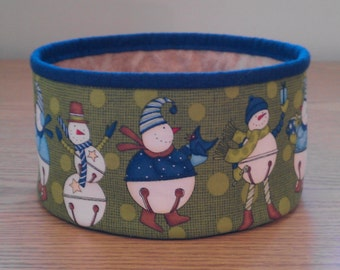 Quilted Fabric Bowl - Jingle bell Snowmen (XbowlQ)
