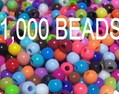4mm Smooth Round Acrylic Beads in a colorful mix 1000 pcs