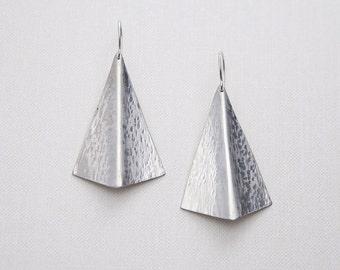 Fold Formed Shield Earrings