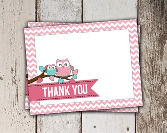 Owl Thank You Card - Pink Chevron - Instant Download
