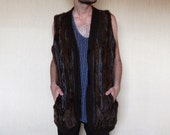 King Urban Jungle . . . Mohair Brown Fur Stripped Sweater Vest