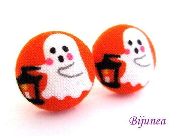 Ghost earrings - Orange ghost stud earrings - Ghost studs - Ghost posts - Halloween ghost earrings sf1054