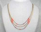 Liquid Sterling Silver and Coral Bead Tiered Necklace - Vintage Southwestern Style