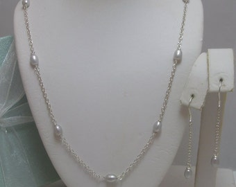 Omi Genuine silver Pearl  Necklace and Earrings Set pearl station necklace