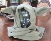 Star Wars Yoda sage green fleece ear scarf hoodie hat