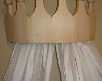 Princess Bed Crown Valance / Canopy / Cornice for Girls Room - Flush Mount