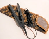 Quilted Flat Iron or Curling Iron Cover/Brown and Golden Tan