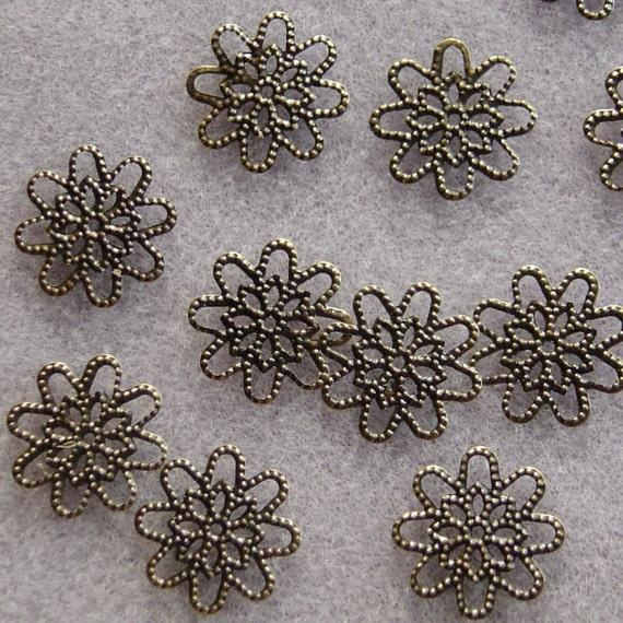 Antique Bronze Filigree Flower Pendants 17mm Nickel Free 508