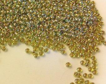 11/0 TOHO - #996 - Gold Lined Rainbow Peridot seed beads - 20gr