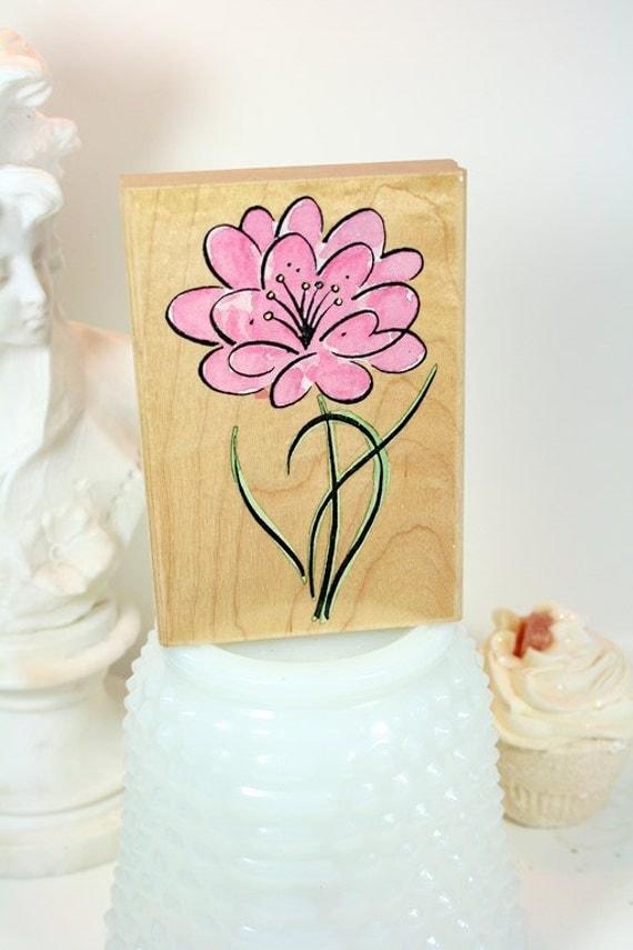 Penny Black Stamp-DESTASH Brush Flower Stamp Wood Mounted Rubber Stamp