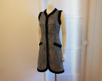 vintage dress / Vintage 1960's Op Art Silver Black 60s Coat Dress