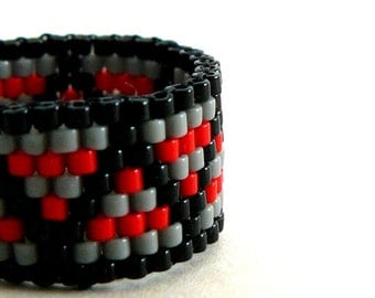 Black and Red Bead Ring Grey and Crimson Stripe Beadwork Jewelry Zig Zag Pattern Bead Weaving Custom Size