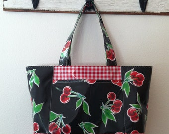 Beth's Large Black Cherry Oilcloth Tote Market Bag with Exterior Pockets
