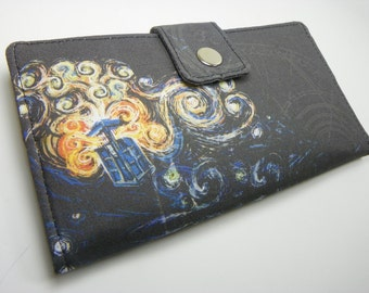 Handmade dr who Long fandom geek Wallet  BiFold Clutch - Vegan Wallet - Doctor Who's Van Gogh Exploding Tardis Bright