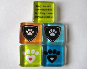 Dog Lover Square Glass Magnets Set of 5