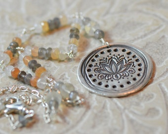 Moonstone Necklace, Lotus Jewelry, Blooming Lotus Jewelry, Gemstone Necklace Lotus Medallion, Silver and Moonstone Necklace by LindaGeez