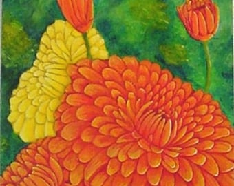 Orange and Yellow Flowers Original Painting on Canvas