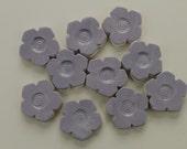 Light Purple Flower Ceramic Mosaic Tiles - set of 10 handmade tiles
