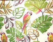 Parrot fabric pink parrot fabric jungle fabric tropical fabric retro fabric home decor fabric resort fabric FREE SHIPPING 1 yard