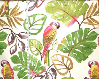 Pink parrot fabric tropical jungle retro mid century cotton interior home decorating material 1 yard