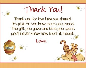 Winnie the Pooh Thank You Cards, Winnie the Pooh Baby Shower Thank You Cards