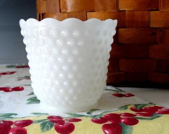 Fire King Milk Glass Hobnail Planter . White Glass Vase . Scalloped Edge . Shabby Chic Decor . Vintage 1960s