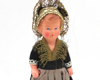 1940s Celluloid Maid Doll from Denmark JK Koge