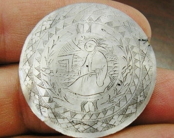 Antique Asian Mother of Pearl GAMING Piece, GAMBLING CHIP, Counter, Hand Engraved, 31mm, Number 9, wonderful condition