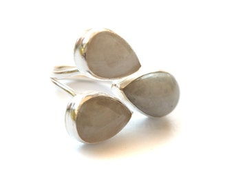 Moonstone Drops Silver Ring