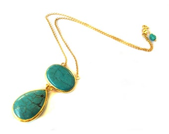 Turquoise Necklace Oval and Tear Drop Cut